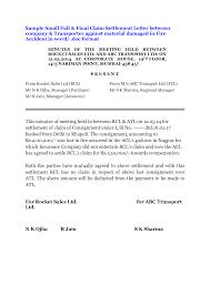 car accident settlement letter sample
