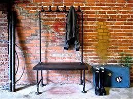 Industrial Coat Rack Bench Industrial Pipe Coat Rack Possum Belly Pipe Clothing Racks 30