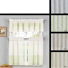 Kitchen Window Curtain Panels 3 Piece Sheer Kitchen Window Curtain Set 1 Valance And 2 Tier