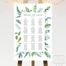 How To Do A Wedding Seating Chart Botanical Leaves Wedding Seating Chart