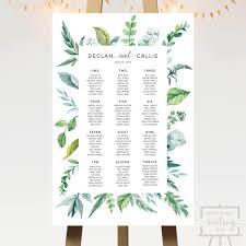 Botanical Leaves Wedding Seating Chart