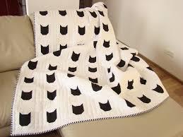 Modern Quilt / Black & White Quilt/ Custom Quilt /Cat Quilt / & 🔎zoom Adamdwight.com