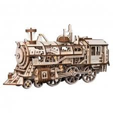 "<b>Деревянный 3D</b>-<b>конструктор Robotime</b> ""Locomotive"" с приводом ..."