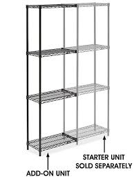 black wire shelving add on unit 24 x 12 x 72 h 2420 72a