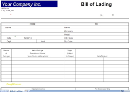 Free Bill Of Lading Template Excel Tagesspartipp Com