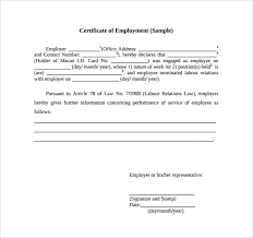 Certificate Of Employment Template Free Download Sample Certificate
