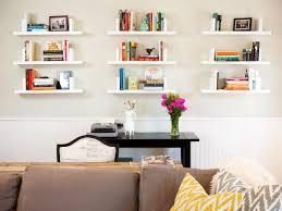 living room with nine white floating shelves
