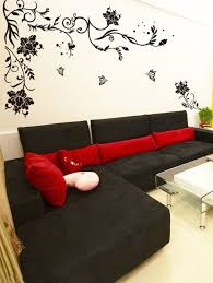 wall stickers for living room black large size fl vine erflies corner sofa tv background decal by stikerskart ping for wall decals
