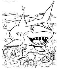 This coloring sheet is perfect to introduce your little kids to this fierce animal. Shark In The Ocean Color Page Shark Coloring Pages Ocean Coloring Pages Animal Coloring Pages