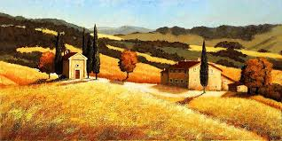 old houses painting tuscan wheatfield 2 by santo de vita