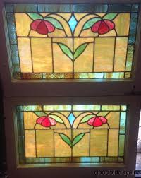 2 colorful antique chicago bungalow stained leaded glass windows 28 by 19 1802500717