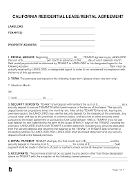 Residential Lease Contract 027 California Standard Residential Lease Agreement Template
