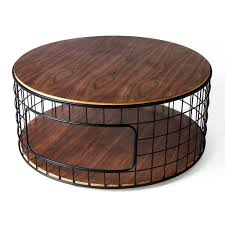 Coffee Table Metal And Round Wood Big