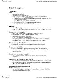 Eng1100 Lecture 12 English Paragraphs Oneclass