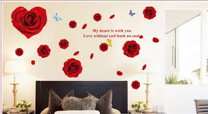 red rose wall stickers for living room home decor diy removable wall decals