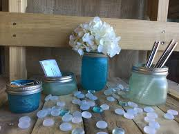 sea glass desk top mason jar set flower vase beach decor office decor beach office decor