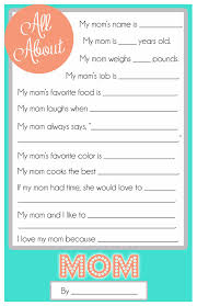 printable questionnaire template. Mothers Day Questionnaire A FREE Printable for the Kids