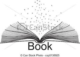 open book and letters clipart vector