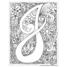 Small Picture Instant Digital Download Adult coloring page letter J