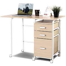 office furniture for small spaces. Tangkula Folding Computer Desk Wheeled Home Office Furniture 3 Drawers  Laptop Writing Table Portable Dome Office Furniture For Small Spaces