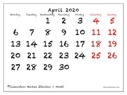 Free Printable April Calendar 2020 April 2020 Calendar 46ms Michel Zbinden En