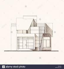 modern home architecture blueprints.  Blueprints Colored Architectural Blueprint Of Modern House Facade Drawn By Hand On Modern Home Architecture Blueprints E