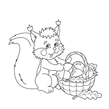Small Picture Coloring Page Outline Of Squirrel With Basket Of Mushrooms Stock