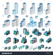 Set Urban Industrial Buildings Isometric Image Vectorielle
