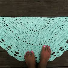 robins egg blue crochet cotton rug in half circle non skid