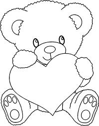 Bear Holding Heart Coloring Page Wecoloringpagecom