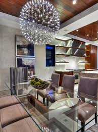 astonishing glass table with decoration in modern dining room furnished with chairs and completed with dining