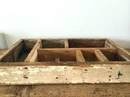rustic vintage wooden box with divided slots aluminum bottom primitive barn find crate crates