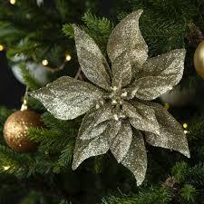 Glitzernder Weihnachtsstern Baumschmuck Zum Anklemmen 2er Set Goldfarben