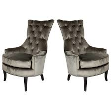 Pair Of Mid Century Modern Tufted High Back Chairs In Smoked