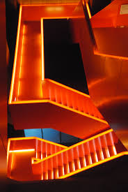 futuristic lighting. Light Architecture Atmosphere Orange Lighting Modern Futuristic Lights Design Stairs Labyrinth Way Rise Atmospheric Forward Gradually I