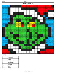 Small Picture Christmas Multiplication and Division Coloring Squared
