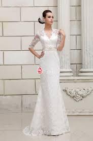 Half Sleeves Keyhole Back V Neck Designer Lace Wedding Dress