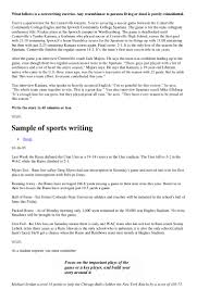 sports writing what follows is a newswriting exercise any resemblance to persons living or dead is purely