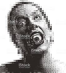 シュールな眼球と口の中で怖い大人の女性のイラストを彫刻 1人の