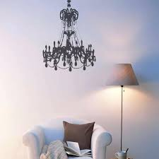 black large grunge chandelier on a white wall decal p