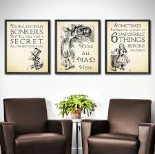 zoom on alice in wonderland wall art quotes with alice in wonderland nursery wall art set of 3 alice in