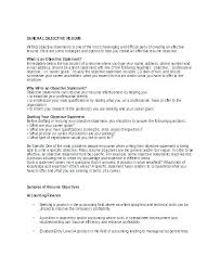 How To Write Objectives For Resume Objective Section Of Resume Bitacorita
