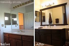 large bathroom with an old style floor length mirror and a dark brown wooden framing