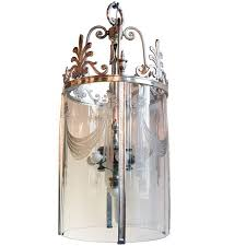 1920 s silver plated pendant light with etched glass for