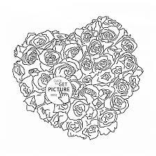Roses Heart Coloring Page For Kids