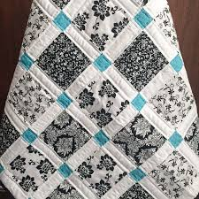 Best 25+ Patchwork quilting ideas on Pinterest | Patchwork quilt ... & Modern Baby Quilt - Black, White and Teal Colors -- love the color  combination Adamdwight.com