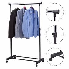 adjule rolling garment rack heavy duty clothes hanger portable rail rack multifunctional laundry drying rack hw53829