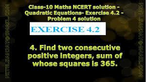 cbse class 10 maths ncert solution quadratic equations exercise 4 2 problem 4