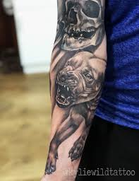 Angry Pitbull Dog Realistic Tattoo On Forearm In Black And Grey By