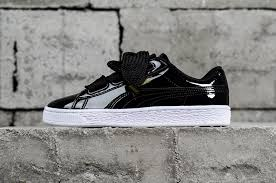 stylish puma basket heart patent black 363073 01 womens shoes sneakers